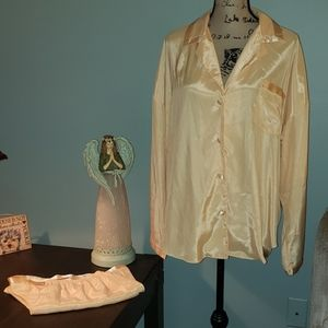 Vintage Victoria's Secret Gold Satin PJ Sleep Set